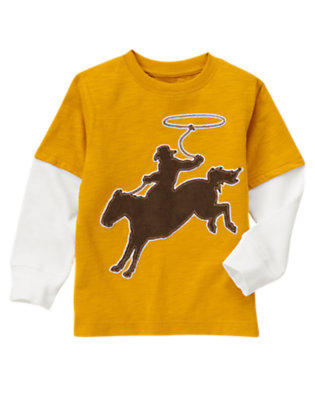 Goldenrod Yellow Lasso Cowboy Double Sleeve Tee by Gymboree