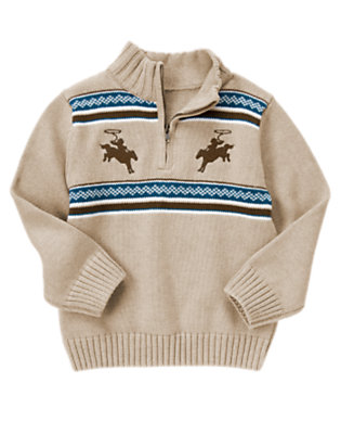 Oatmeal Heather Cowboy Fair Isle Sweater Pullover by Gymboree