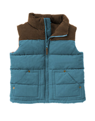 Slate Blue Corduroy Quilted Puffer Vest by Gymboree