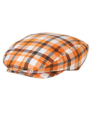 Boys Pumpkin Orange Plaid Plaid Cap by Gymboree