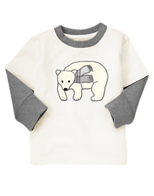 Ivory Polar Bear Double Sleeve Tee by Gymboree