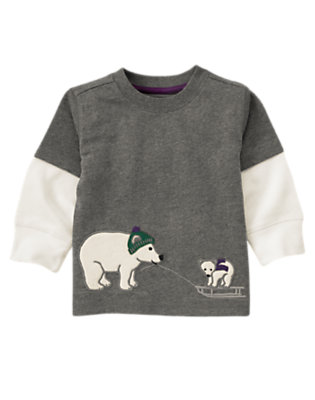 Misty Heather Polar Bears Double Sleeve Tee by Gymboree