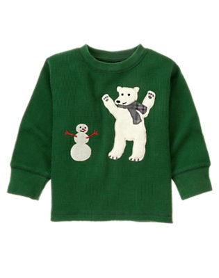 Pine Green Polar Bear & Snowman Thermal Tee by Gymboree
