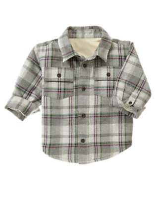 Heather Grey Check Plaid Flannel Shacket by Gymboree