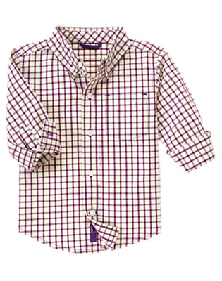Winter Purple Check Tattersall Shirt by Gymboree