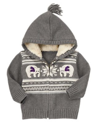 Heather Grey Polar Bear Fair Isle Hooded Zip Sweater by Gymboree