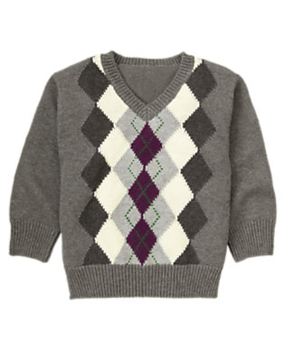 Misty Heather Argyle Sweater by Gymboree