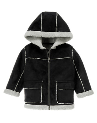 Toddler Boys Black Hooded Faux Shearling Jacket by Gymboree