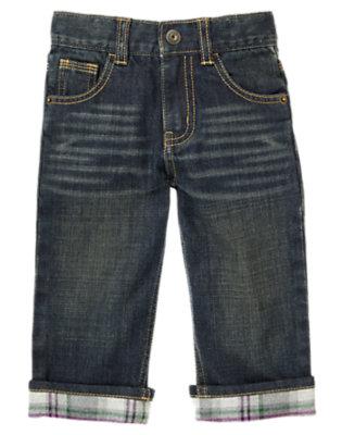 Denim Plaid Flannel Cuffed Jean by Gymboree