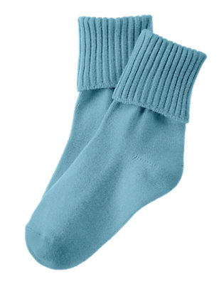 Boys Slate Blue Foldover Sock by Gymboree