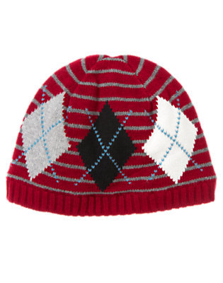 Boys Flag Red Stripe Argyle Stripe Sweater Beanie by Gymboree