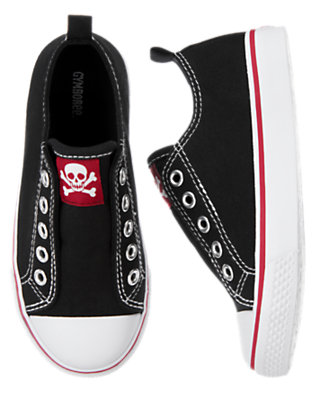Boys Black Skull and Crossbones Laceless Sneaker by Gymboree