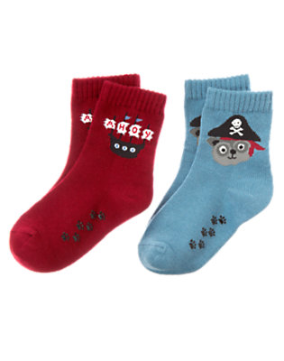 Toddler Boys Slate Blue Raccoon Pirate Sock Two-Pack by Gymboree