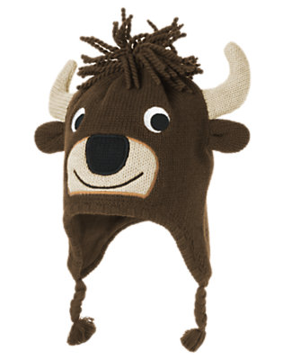 Toddler Boys Chocolate Brown Bison Earflap Sweater Hat by Gymboree