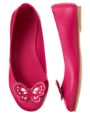 Girls Raspberry Pink Glitter Butterfly Ballet Flat by Gymboree