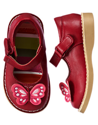 Toddler Girls Pomegranate Red Butterfly Mary Jane Shoe by Gymboree