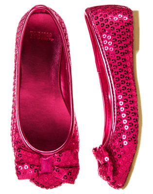 Girls Bright Raspberry Pink Sequin Bow Ballet Flat by Gymboree