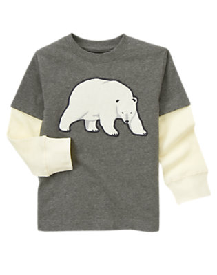 Boys Misty Heather Polar Bear Double Sleeve Tee by Gymboree