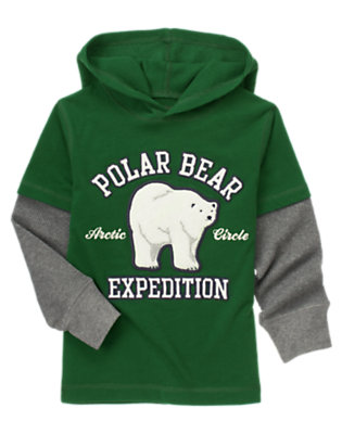 Pine Green Polar Bear Hooded Double Sleeve Tee by Gymboree