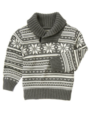 Misty Heather Fair Isle Shawl Collar Sweater by Gymboree