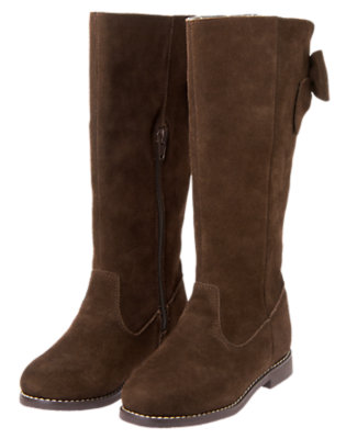 Forest Brown Bow Suede Boot by Gymboree