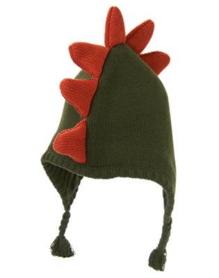 Boys Green Dinosaur Dinosaur Earflap Sweater Hat by Gymboree
