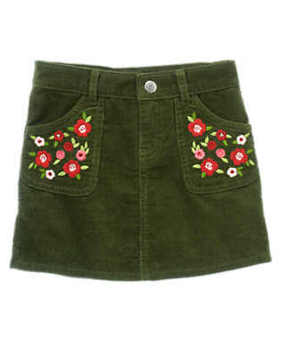 Girls Juniper Green Sequin Flower Corduroy Skort by Gymboree