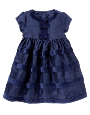 Midnight Blue Velvet Bow Duppioni Dress by Gymboree