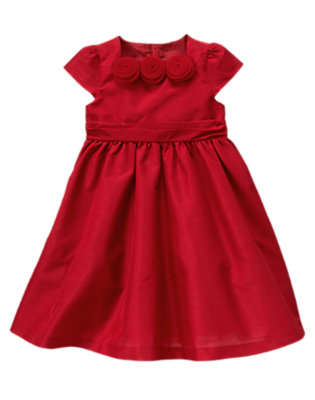 Girls Holiday Red Rosette Duppioni Dress by Gymboree