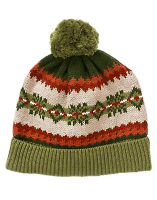Boys Green Dinosaur Fair Isle Sweater Hat by Gymboree