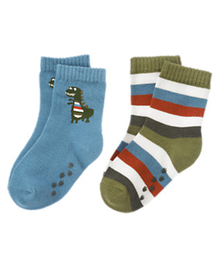 Toddler Boys Prehistoric Blue Dinosaur Stripe Sock Two-Pack by Gymboree