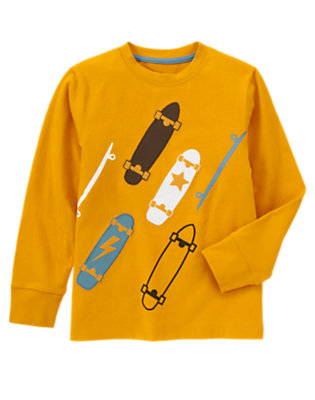 Boys Goldenrod Yellow Skateboards Tee by Gymboree