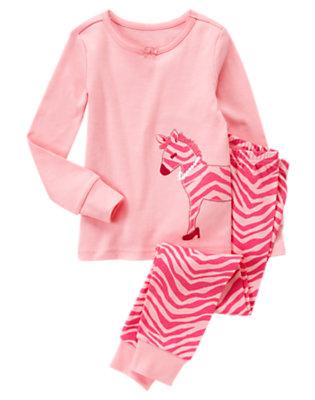 Toddler Girls Pink Zebra Zebra Two-Piece Gymmies® by Gymboree