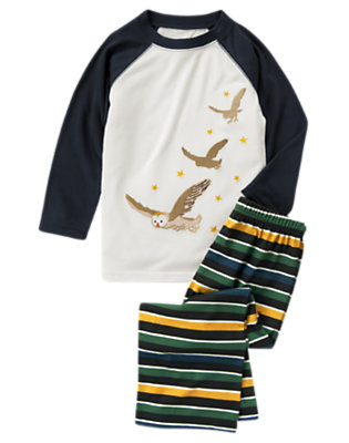 Boys Dark Blue Flying Owl Two-Piece Pajama Set by Gymboree