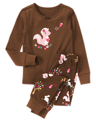 Toddler Girls Chocolate Brown Lil' Stinker Two-Piece Gymmies® by Gymboree