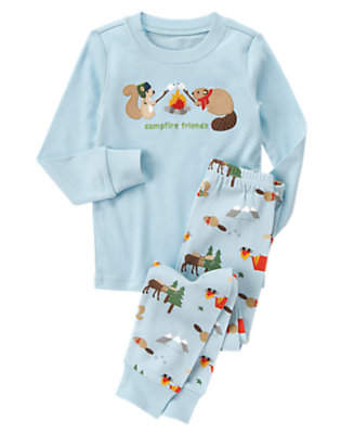 Pale Blue Campfire Friends Two-Piece Gymmies® by Gymboree
