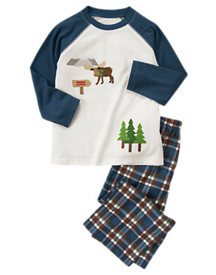 Dark Slate Blue Moose Two-Piece Pajama Set by Gymboree
