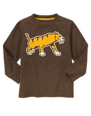 Chocolate Brown Saber-Toothed Tiger Tee by Gymboree