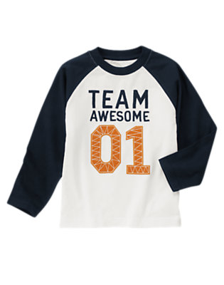 Boys Ivory Team Awesome Tee by Gymboree