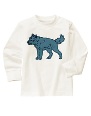 Boys Ivory Wolf Tee by Gymboree