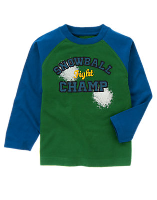 Boys Pine Green Snowball Fight Champ Tee by Gymboree