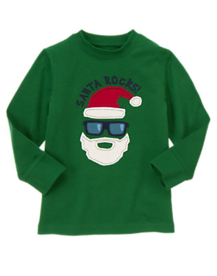 Pine Green Santa Rocks Tee by Gymboree