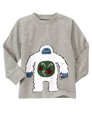 Boys Heather Grey Snow Monster Tee by Gymboree