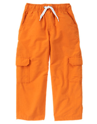 Boys Orange Lined Cargo Active Pant by Gymboree