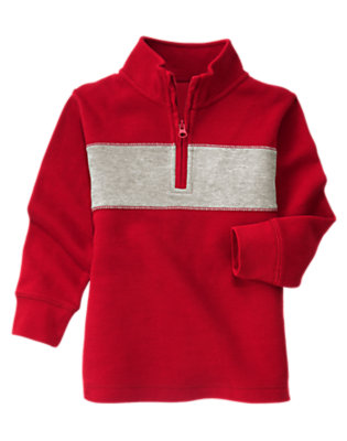 Red Chest Stripe Half Zip Pullover by Gymboree