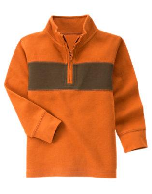 Orange Chest Stripe Half Zip Pullover by Gymboree