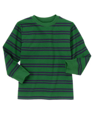 Pine Green Double Stripe Stripe Tee by Gymboree