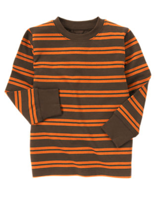 Boys Brown Double Stripe Stripe Tee by Gymboree