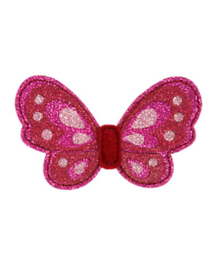 Girls Raspberry Pink Glitter Butterfly Hair Clip by Gymboree