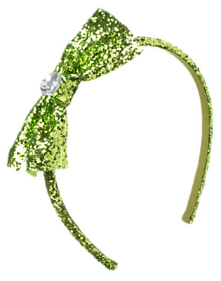 Bright Green Glitter Bow Headband by Gymboree